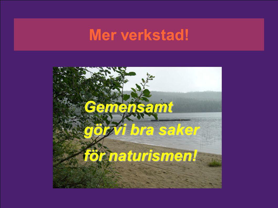 Gemensamt gör vi bra saker för naturismen! Mer verkstad!