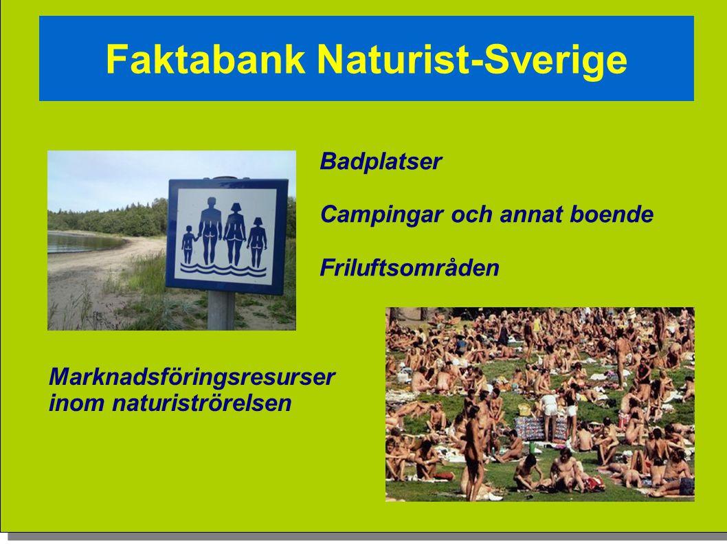 Vision Badplatser Campingar och annat boende Friluftsområden Marknadsföringsresurser inom naturiströrelsen Faktabank Naturist-Sverige