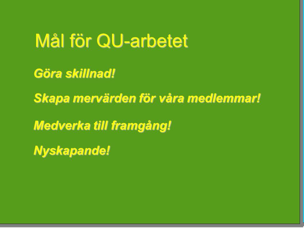 Mål för QU-arbetet Göra skillnad! Skapa mervärden för våra medlemmar! Medverka till framgång! Nyskapande!