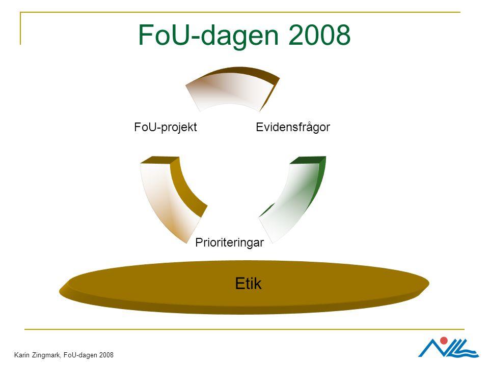 FoU-dagen 2008 Prioriteringar FoU-projekt Evidensfrågor Etik Karin Zingmark, FoU-dagen 2008
