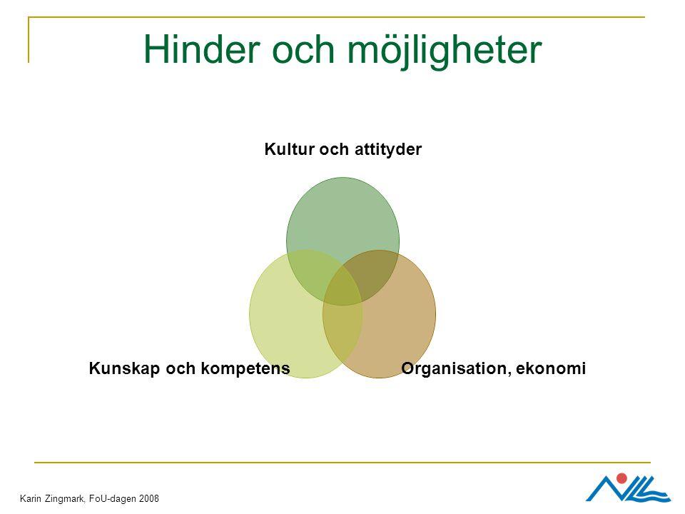 Hinder och möjligheter Kultur och attityder Organisation, ekonomi Kunskap och kompetens Karin Zingmark, FoU-dagen 2008