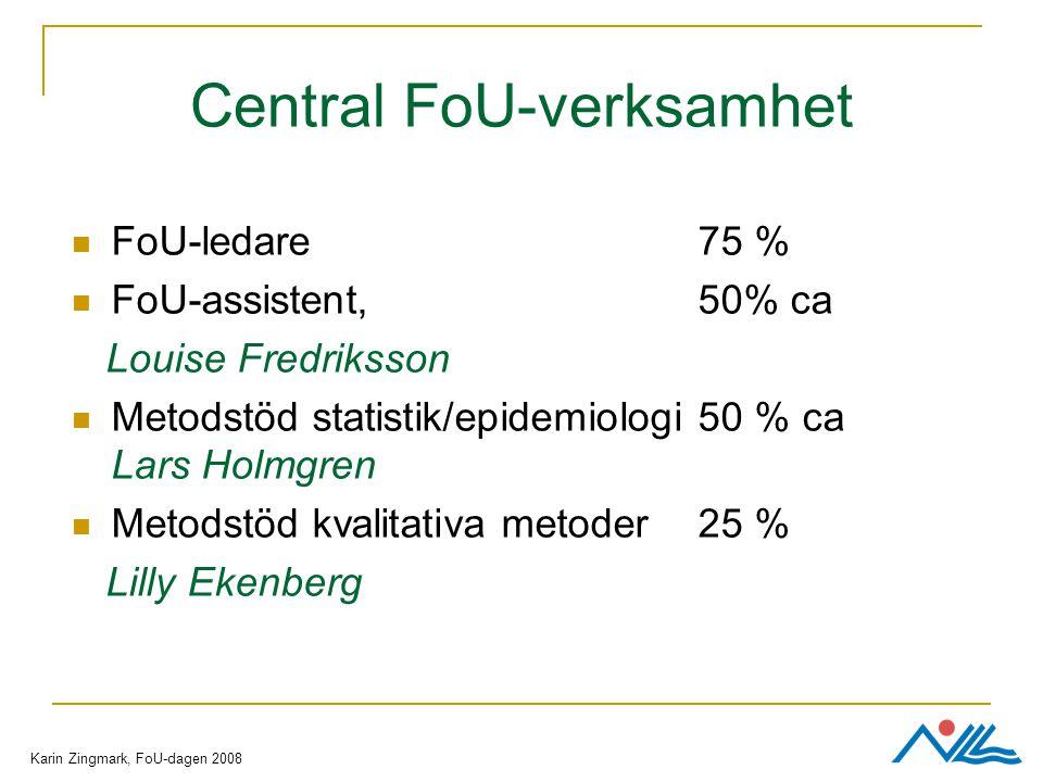 Central FoU-verksamhet FoU-ledare 75 % FoU-assistent, 50% ca Louise Fredriksson Metodstöd statistik/epidemiologi 50 % ca Lars Holmgren Metodstöd kvalitativa metoder25 % Lilly Ekenberg Karin Zingmark, FoU-dagen 2008