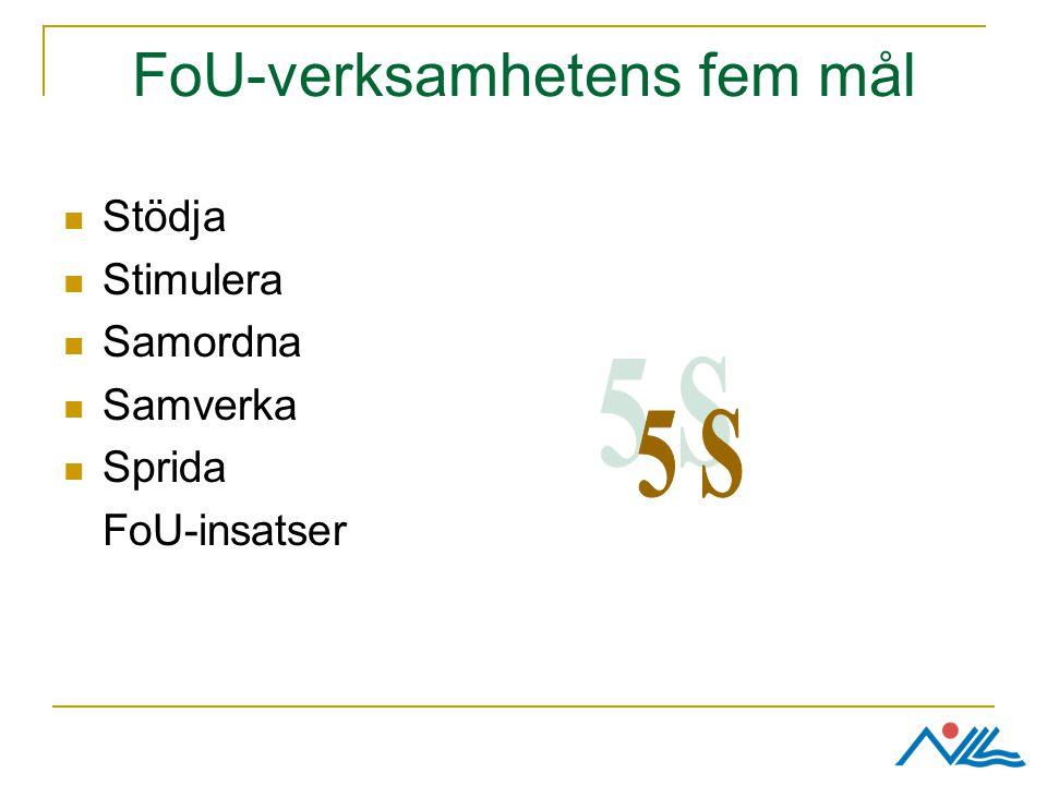 FoU-verksamhetens fem mål Stödja Stimulera Samordna Samverka Sprida FoU-insatser