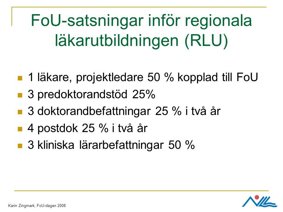 FoU-satsningar inför regionala läkarutbildningen (RLU) 1 läkare, projektledare 50 % kopplad till FoU 3 predoktorandstöd 25% 3 doktorandbefattningar 25 % i två år 4 postdok 25 % i två år 3 kliniska lärarbefattningar 50 % Karin Zingmark, FoU-dagen 2008