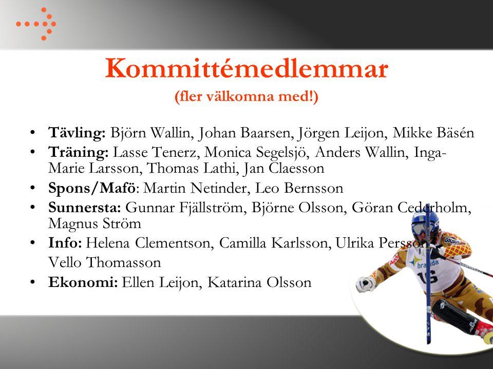 Kommittémedlemmar (fler välkomna med!) Tävling: Björn Wallin, Johan Baarsen, Jörgen Leijon, Mikke Bäsén Träning: Lasse Tenerz, Monica Segelsjö, Anders