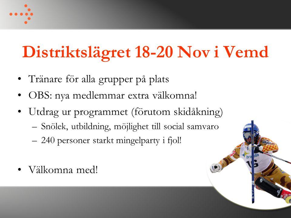 Distriktslägret 18-20 Nov i Vemd Tränare för alla grupper på plats OBS: nya medlemmar extra välkomna! Utdrag ur programmet (förutom skidåkning) –Snöle