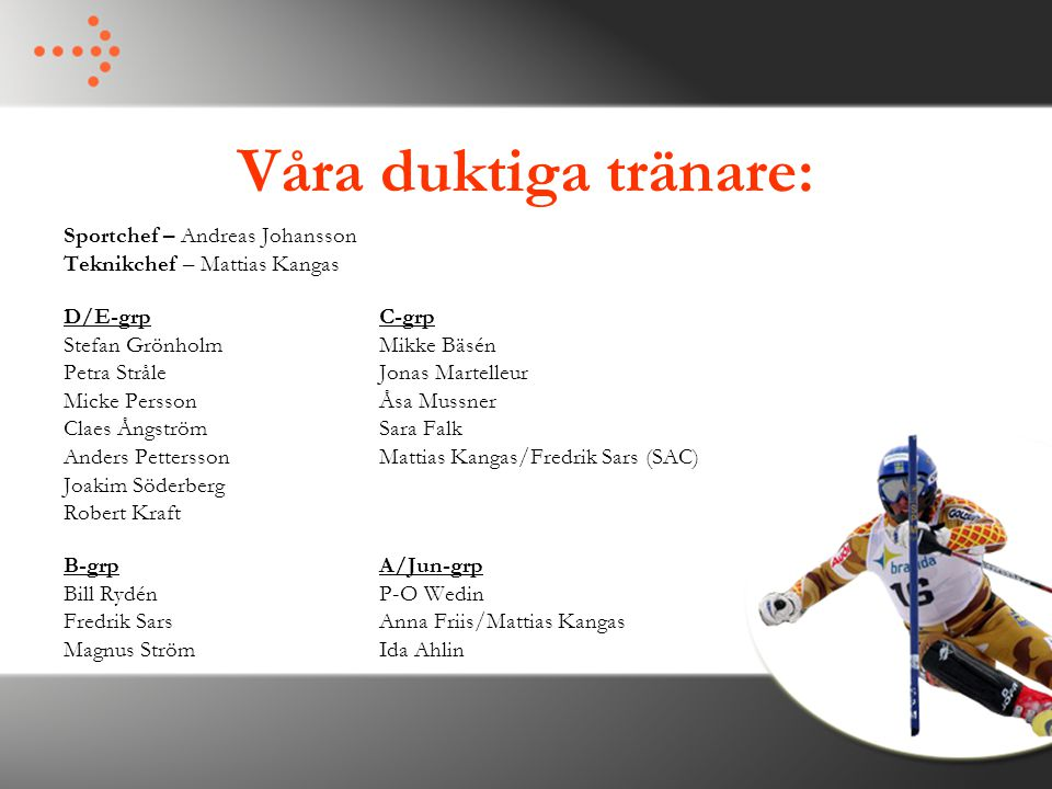 Våra duktiga tränare: Sportchef – Andreas Johansson Teknikchef – Mattias Kangas D/E-grpC-grp Stefan GrönholmMikke Bäsén Petra StråleJonas Martelleur M