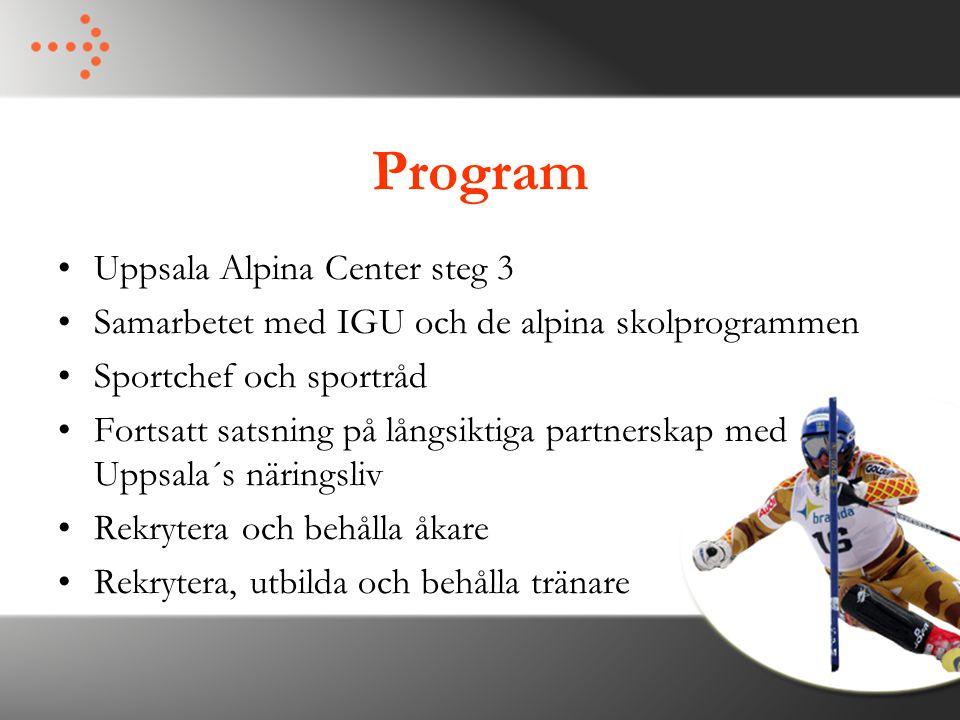 Program Uppsala Alpina Center steg 3 Samarbetet med IGU och de alpina skolprogrammen Sportchef och sportråd Fortsatt satsning på långsiktiga partnersk