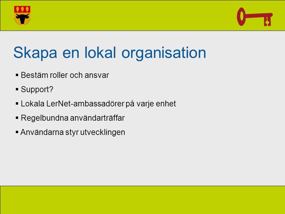 Skapa en lokal organisation  Bestäm roller och ansvar  Support?  Lokala LerNet-ambassadörer på varje enhet  Regelbundna användarträffar  Användar