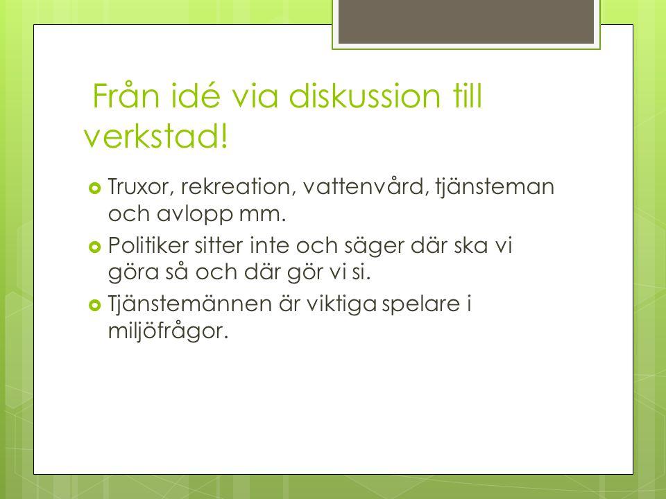 Från idé via diskussion till verkstad.  Truxor, rekreation, vattenvård, tjänsteman och avlopp mm.