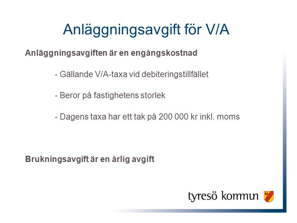 Anläggningsavgift för V/A Anläggningsavgiften är en engångskostnad - Gällande V/A-taxa vid debiteringstillfället - Beror på fastighetens storlek - Dagens taxa har ett tak på 200 000 kr inkl.