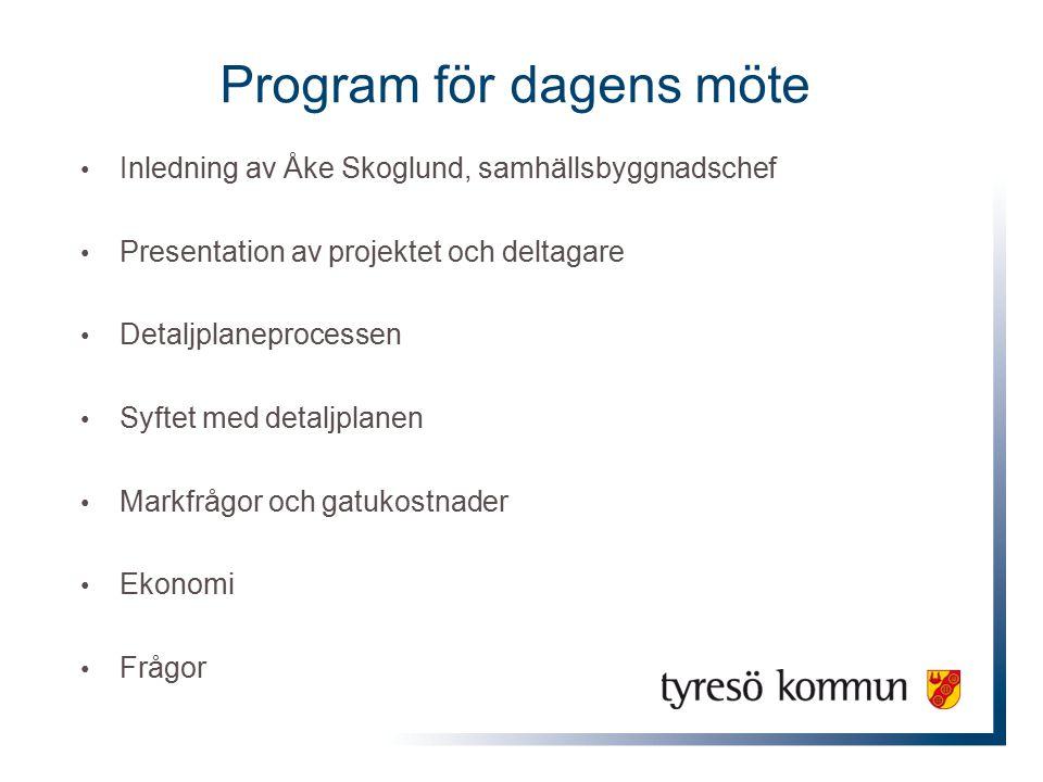 Program för dagens möte Inledning av Åke Skoglund, samhällsbyggnadschef Presentation av projektet och deltagare Detaljplaneprocessen Syftet med detalj