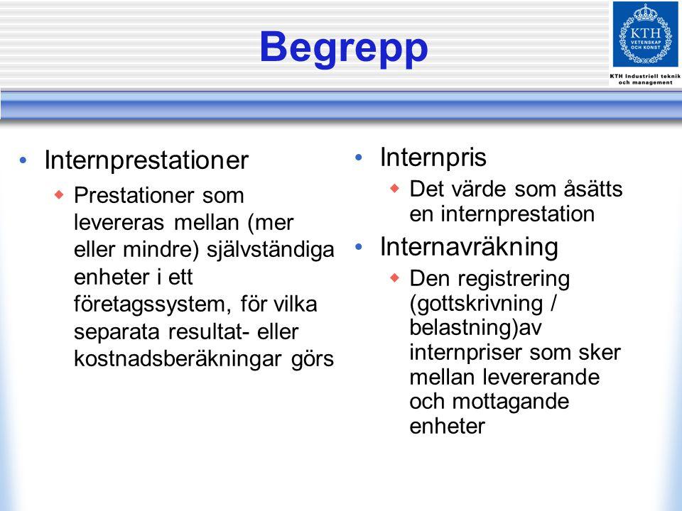 Begrepp Internprestationer  Prestationer som levereras mellan (mer eller mindre) självständiga enheter i ett företagssystem, för vilka separata resul