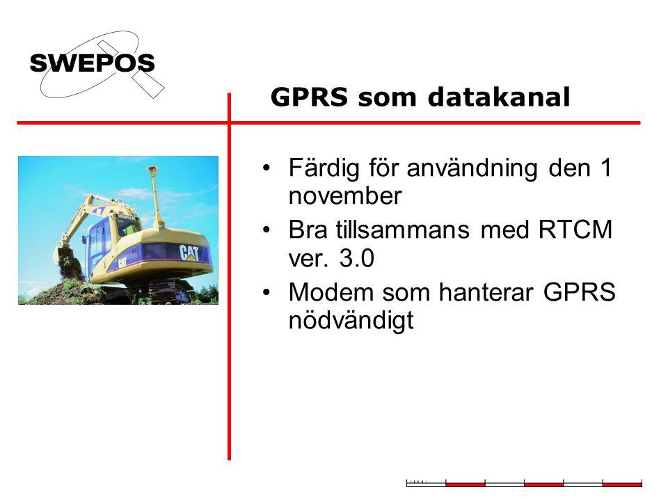 GPRS som datakanal Färdig för användning den 1 november Bra tillsammans med RTCM ver. 3.0 Modem som hanterar GPRS nödvändigt