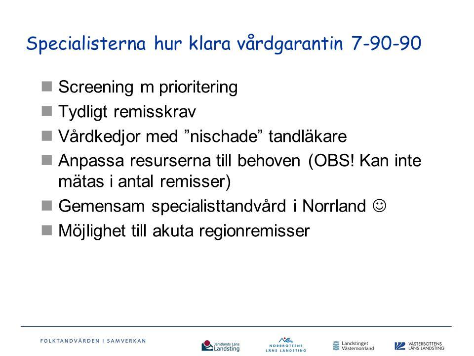 Specialisterna hur klara vårdgarantin 7-90-90 Screening m prioritering Tydligt remisskrav Vårdkedjor med nischade tandläkare Anpassa resurserna till behoven (OBS.