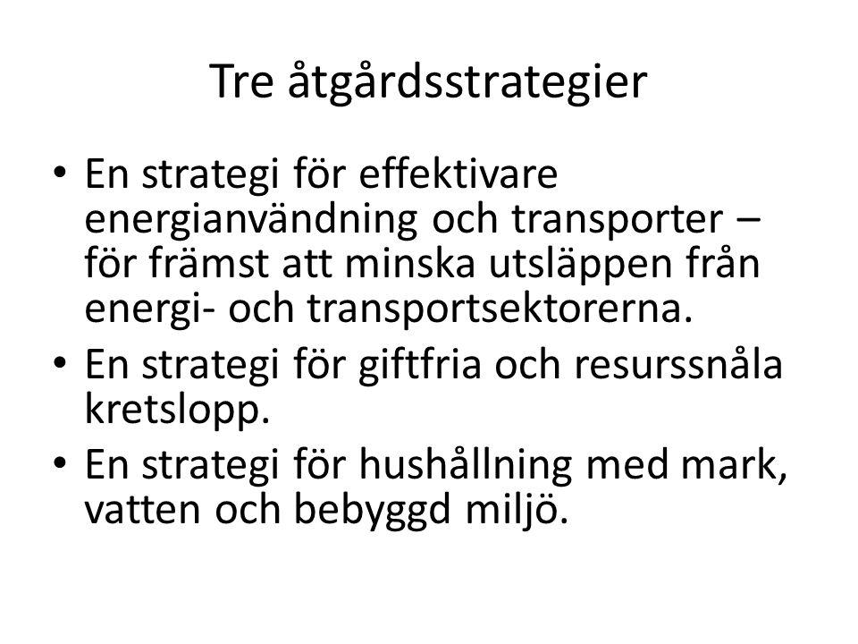 Tre åtgårdsstrategier En strategi för effektivare energianvändning och transporter – för främst att minska utsläppen från energi- och transportsektore