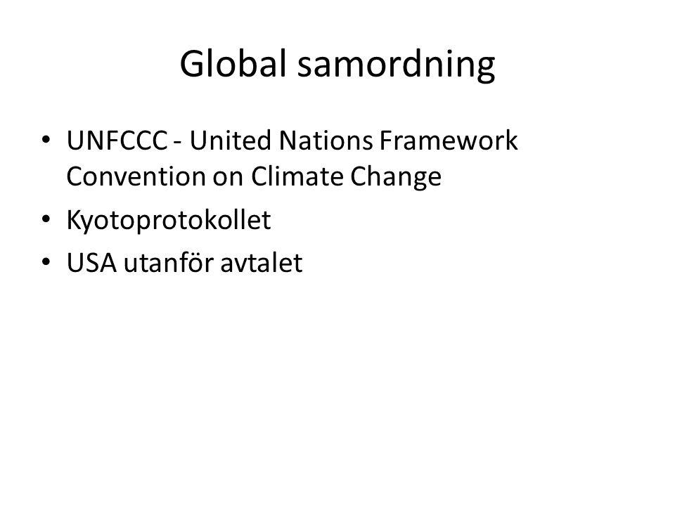 Global samordning UNFCCC - United Nations Framework Convention on Climate Change Kyotoprotokollet USA utanför avtalet