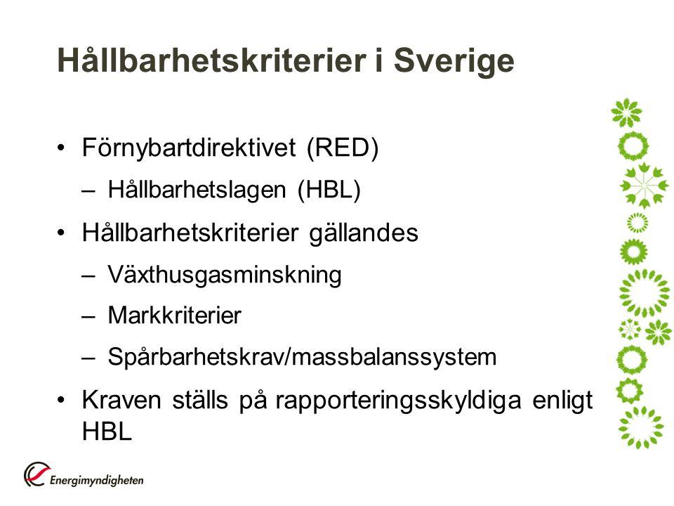 Hållbarhetskriterier i Sverige Förnybartdirektivet (RED) –Hållbarhetslagen (HBL) Hållbarhetskriterier gällandes –Växthusgasminskning –Markkriterier –S