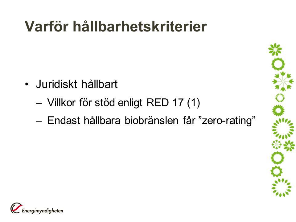 """Varför hållbarhetskriterier Juridiskt hållbart –Villkor för stöd enligt RED 17 (1) –Endast hållbara biobränslen får """"zero-rating"""""""