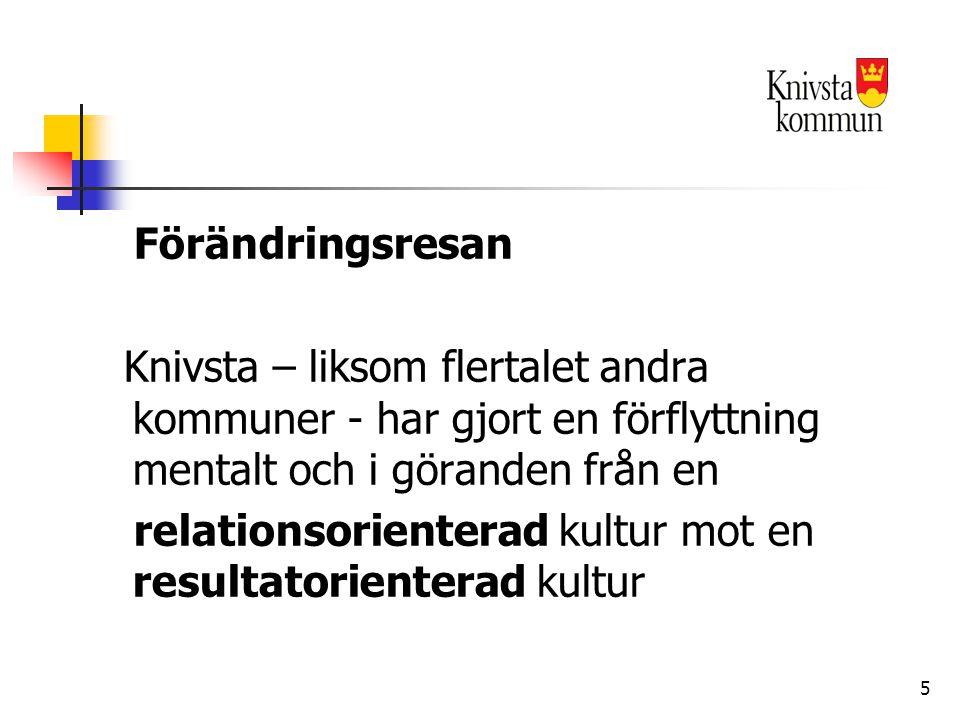 5 Förändringsresan Knivsta – liksom flertalet andra kommuner - har gjort en förflyttning mentalt och i göranden från en relationsorienterad kultur mot en resultatorienterad kultur