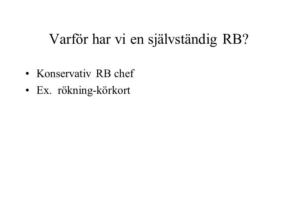 Varför har vi en självständig RB? Konservativ RB chef Ex. rökning-körkort