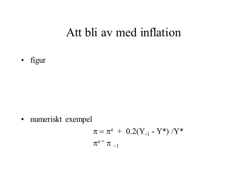 Att bli av med inflation figur numeriskt exempel  e + 0.2(Y -1 - Y*) /Y*  e = 