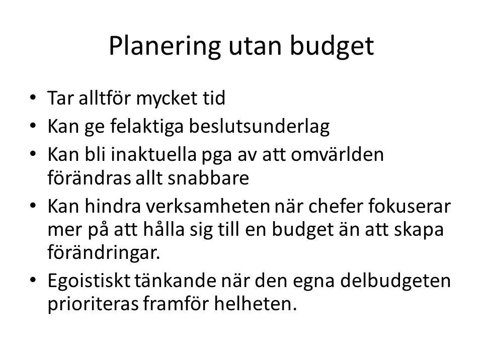 Planering utan budget Tar alltför mycket tid Kan ge felaktiga beslutsunderlag Kan bli inaktuella pga av att omvärlden förändras allt snabbare Kan hindra verksamheten när chefer fokuserar mer på att hålla sig till en budget än att skapa förändringar.
