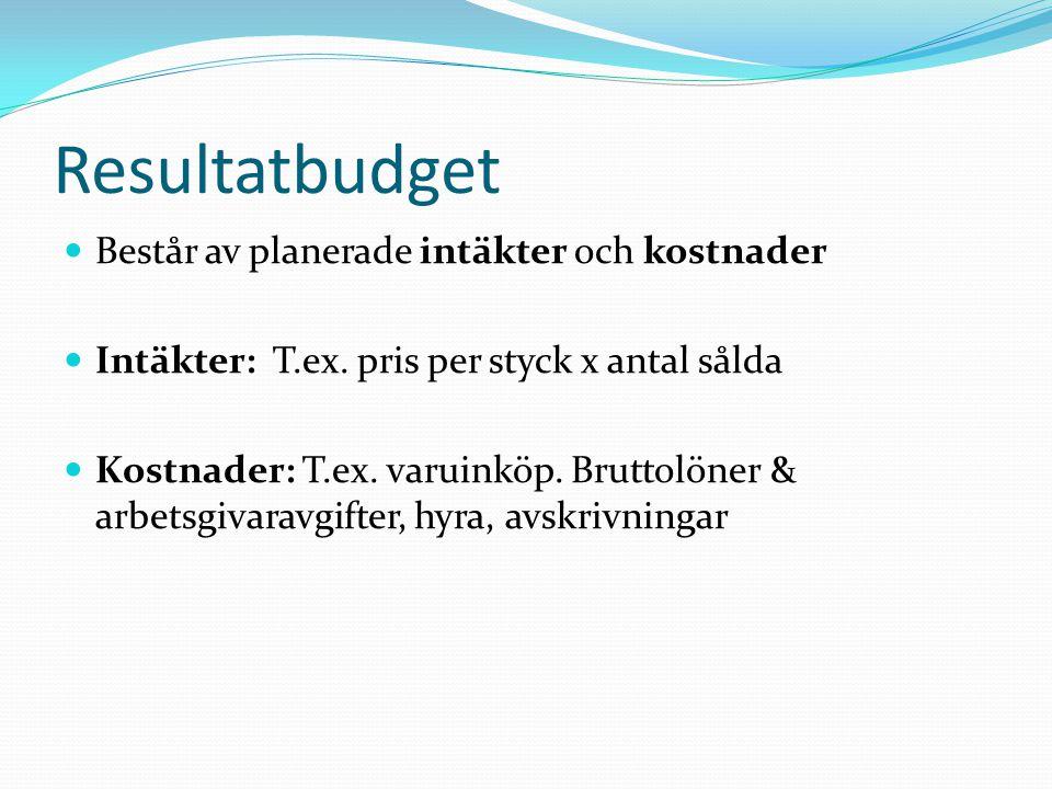 Resultatbudget Består av planerade intäkter och kostnader Intäkter: T.ex. pris per styck x antal sålda Kostnader: T.ex. varuinköp. Bruttolöner & arbet