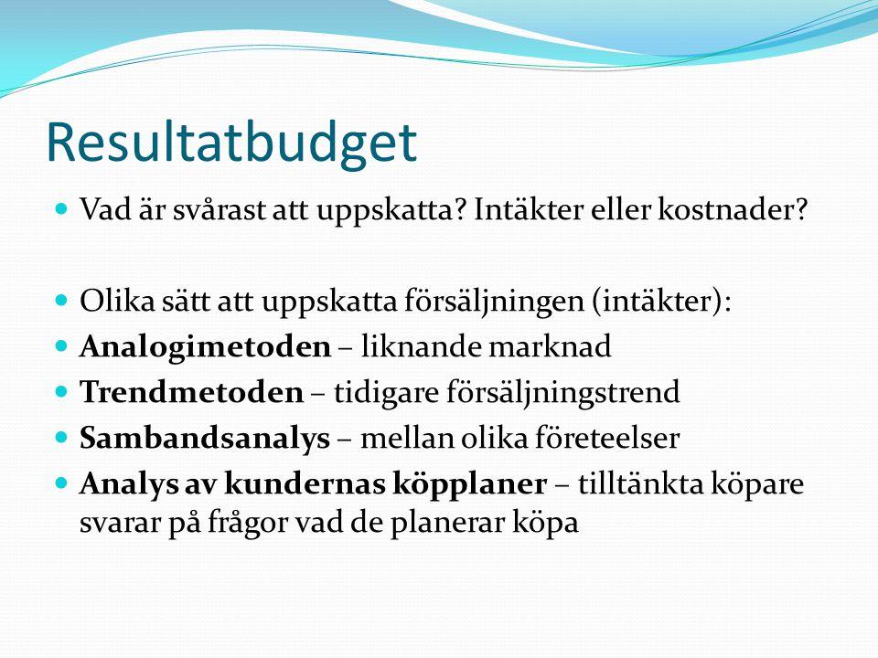 Resultatbudget Vad är svårast att uppskatta? Intäkter eller kostnader? Olika sätt att uppskatta försäljningen (intäkter): Analogimetoden – liknande ma