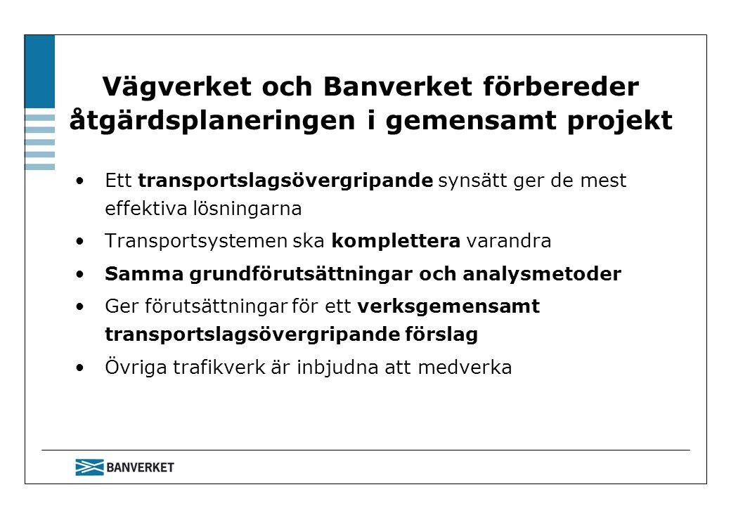 Vägverket och Banverket förbereder åtgärdsplaneringen i gemensamt projekt Ett transportslagsövergripande synsätt ger de mest effektiva lösningarna Transportsystemen ska komplettera varandra Samma grundförutsättningar och analysmetoder Ger förutsättningar för ett verksgemensamt transportslagsövergripande förslag Övriga trafikverk är inbjudna att medverka