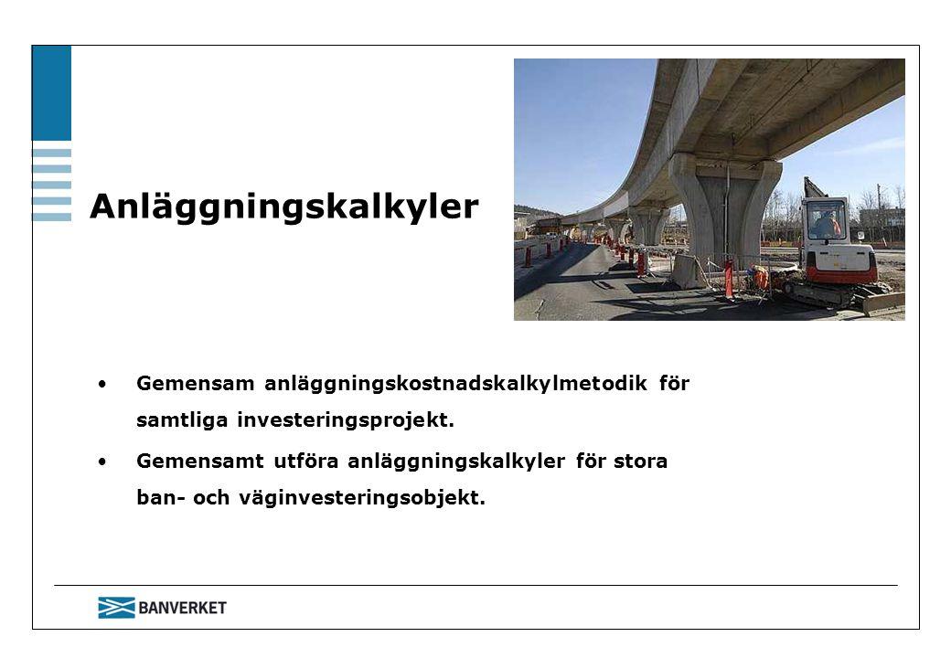 Anläggningskalkyler Gemensam anläggningskostnadskalkylmetodik för samtliga investeringsprojekt. Gemensamt utföra anläggningskalkyler för stora ban- oc