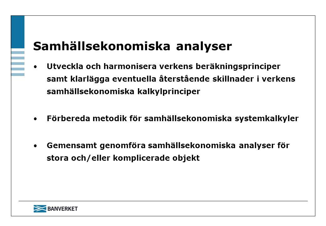 Samhällsekonomiska analyser Utveckla och harmonisera verkens beräkningsprinciper samt klarlägga eventuella återstående skillnader i verkens samhällsekonomiska kalkylprinciper Förbereda metodik för samhällsekonomiska systemkalkyler Gemensamt genomföra samhällsekonomiska analyser för stora och/eller komplicerade objekt