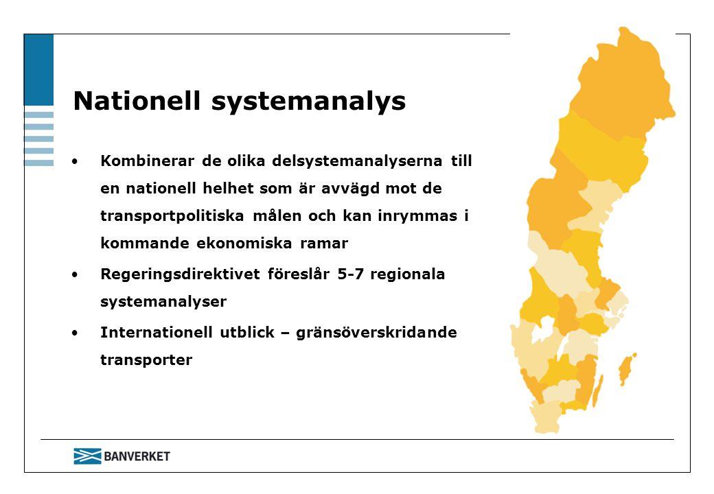 Nationell systemanalys Kombinerar de olika delsystemanalyserna till en nationell helhet som är avvägd mot de transportpolitiska målen och kan inrymmas i kommande ekonomiska ramar Regeringsdirektivet föreslår 5-7 regionala systemanalyser Internationell utblick – gränsöverskridande transporter