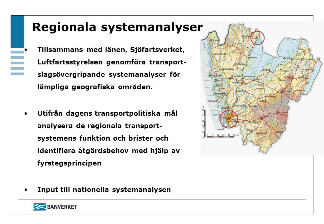 Regionala systemanalyser Tillsammans med länen, Sjöfartsverket, Luftfartsstyrelsen genomföra transport- slagsövergripande systemanalyser för lämpliga geografiska områden.
