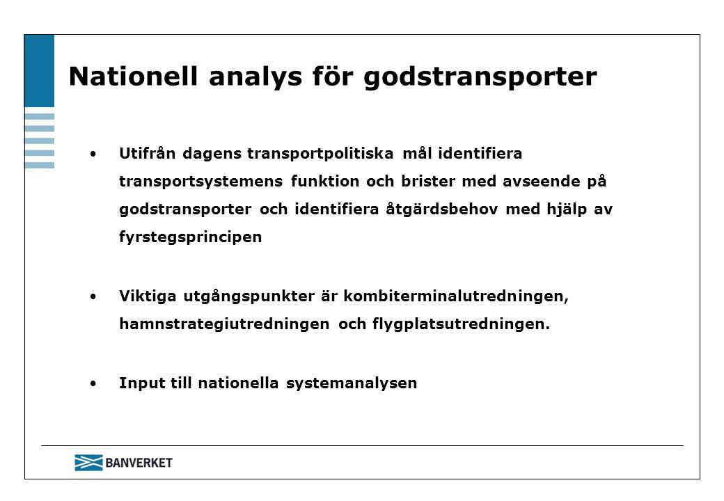 Nationell analys för godstransporter Utifrån dagens transportpolitiska mål identifiera transportsystemens funktion och brister med avseende på godstransporter och identifiera åtgärdsbehov med hjälp av fyrstegsprincipen Viktiga utgångspunkter är kombiterminalutredningen, hamnstrategiutredningen och flygplatsutredningen.