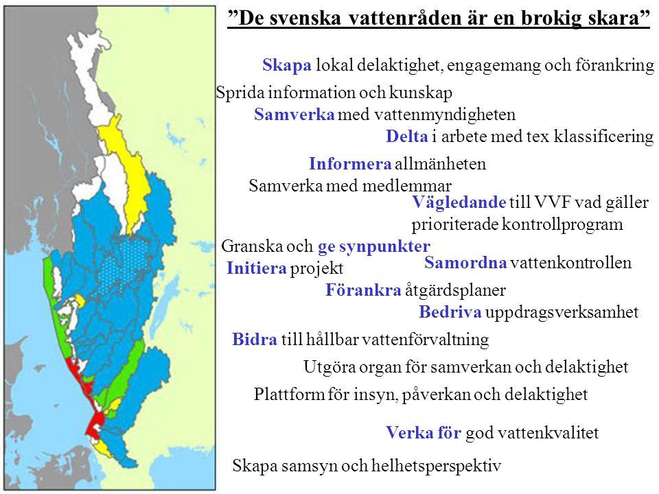 De svenska vattenråden är en brokig skara Vägledande till VVF vad gäller prioriterade kontrollprogram Samverka med vattenmyndigheten Granska och ge synpunkter Delta i arbete med tex klassificering Samverka med medlemmar Sprida information och kunskap Informera allmänheten Förankra åtgärdsplaner Samordna vattenkontrollen Initiera projekt Bedriva uppdragsverksamhet Bidra till hållbar vattenförvaltning Verka för god vattenkvalitet Plattform för insyn, påverkan och delaktighet Utgöra organ för samverkan och delaktighet Skapa lokal delaktighet, engagemang och förankring Skapa samsyn och helhetsperspektiv