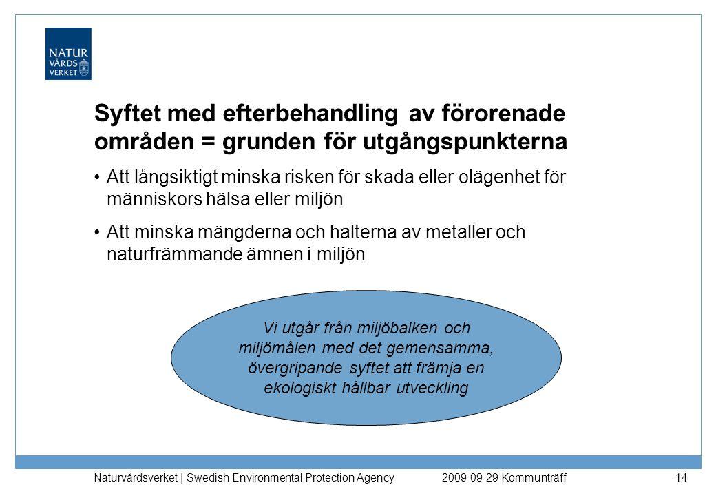 Naturvårdsverket | Swedish Environmental Protection Agency 14 Syftet med efterbehandling av förorenade områden = grunden för utgångspunkterna Att lång