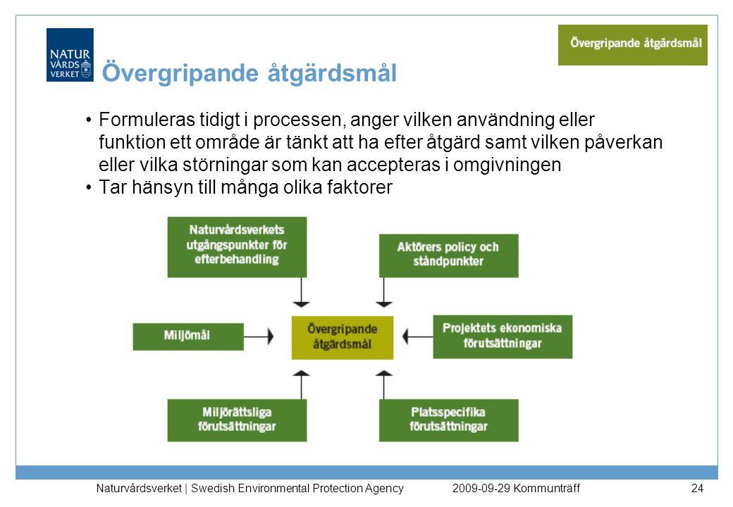 Naturvårdsverket | Swedish Environmental Protection Agency 24 Övergripande åtgärdsmål Formuleras tidigt i processen, anger vilken användning eller fun