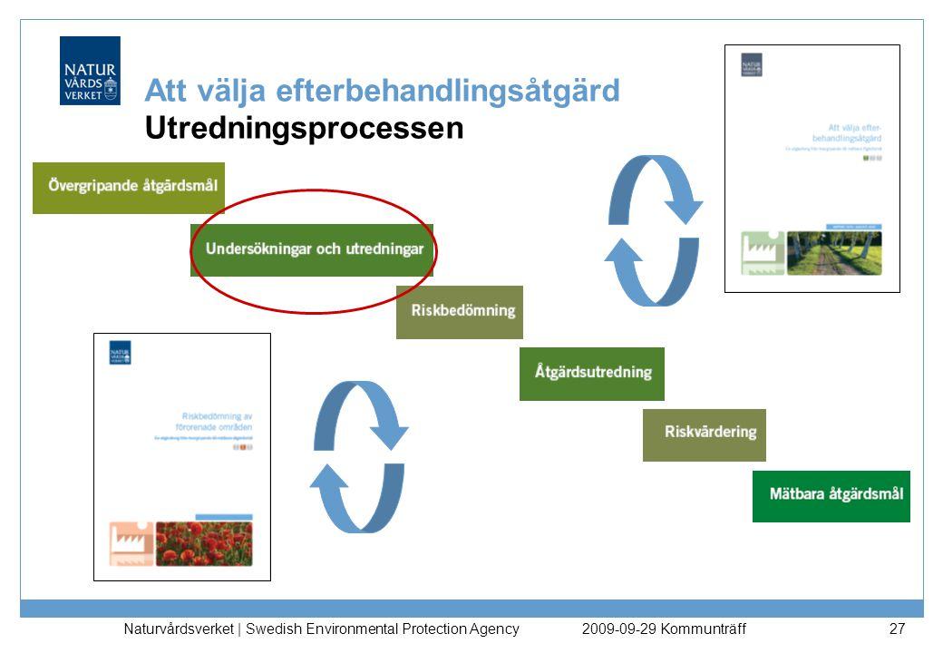Naturvårdsverket | Swedish Environmental Protection Agency 27 Att välja efterbehandlingsåtgärd Utredningsprocessen 2009-09-29 Kommunträff