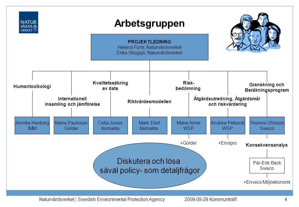 Naturvårdsverket | Swedish Environmental Protection Agency 4 Arbetsgruppen Internationell insamling och jämförelse Kvalitetssäkring av data Riktvärdes