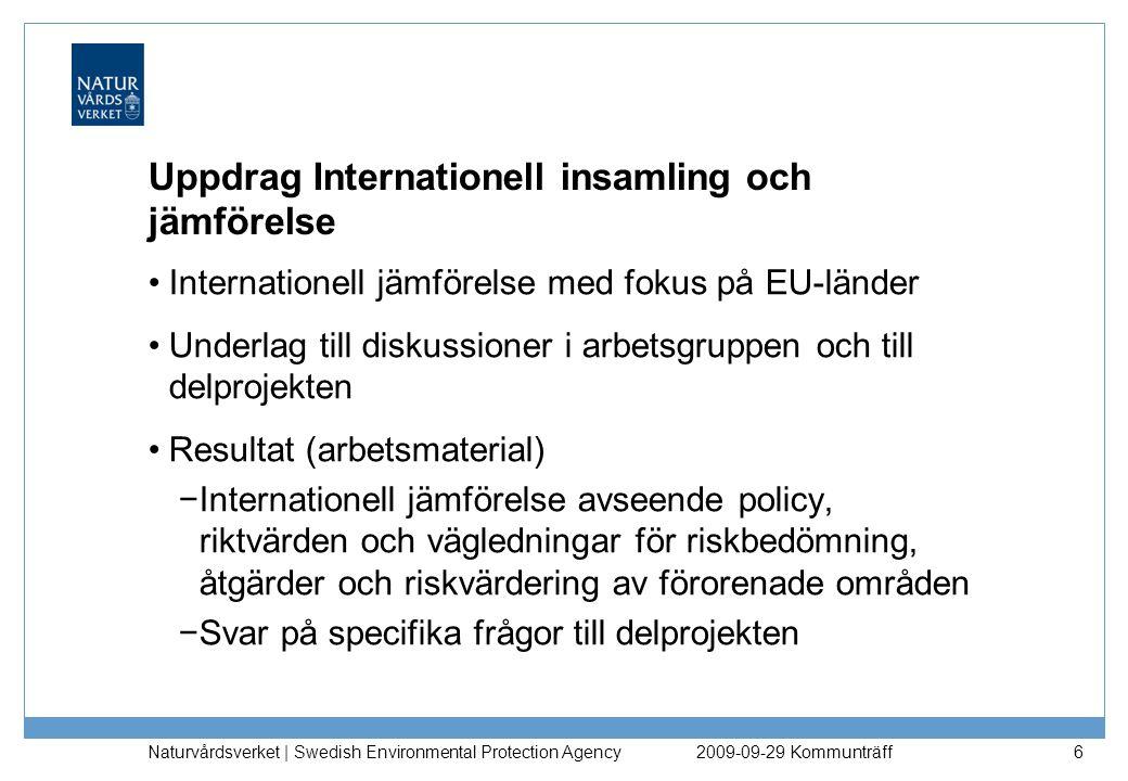Naturvårdsverket | Swedish Environmental Protection Agency 17 Utgångspunkter om vattenmiljö 3.Grund- och ytvatten är naturresurser som i princip alltid är skyddsvärda 4.Spridning av föroreningar från ett förorenat område bör inte innebära vare sig en höjning av bakgrundshalter eller utsläppsmängder som långsiktigt riskerar att försämra kvaliteten på ytvatten- och grundvattenresurser 5.Sediment- och vattenmiljöer bör skyddas så störningar inte uppkommer på det akvatiska ekosystemet och så att särskilt skyddsvärda och värdefulla arter värnas 2009-09-29 Kommunträff