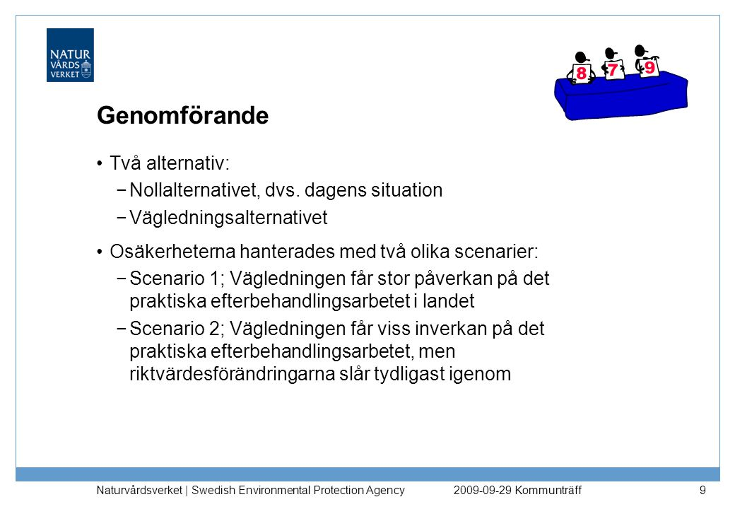Naturvårdsverket | Swedish Environmental Protection Agency 50 Grundvatten skyddas vid KM och MKM: −exponering via intag av dricksvatten i hälsoriktvärde (KM) −halter i grundvatten nedströms* underskrider halva dricksvattennormen (KM och MKM) Ytvatten skyddas så att tillskott inte gör att haltkriterier överskrids (KM och MKM) −liten avvikelse i förhållande till normalt förekommande halter för metaller −halter underskrider halva effektgränsen för organiska ämnen Markmiljön skyddas på en nivå som motsvarar skydd av: −75% av arterna vid KM och 50% av arterna vid MKM Exponeringen från ämnen med tröskeleffekt från det förorenade området begränsas till: −50 % av tröskeldosen (TDI/RfC) generellt −20 % av tröskeldosen (TDI/RfC) för Pb, Cd, Hg och 10 % för dioxin, PCB För genotoxiska, cancerogena ämnen (utan tröskeleffekt) accepteras maximalt ett extra cancerfall per 100 000 invånare *0 m för KM, 200 m för MKM Generella riktvärden – antaganden och val Resultat av utgångspunkterna 2009-09-29 Kommunträff
