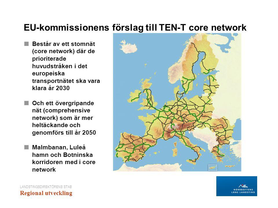 EU-kommissionens förslag till TEN-T core network ■ Består av ett stomnät (core network) där de prioriterade huvudstråken i det europeiska transportnätet ska vara klara år 2030 ■ Och ett övergripande nät (comprehensive network) som är mer heltäckande och genomförs till år 2050 ■ Malmbanan, Luleå hamn och Botninska korridoren med i core network