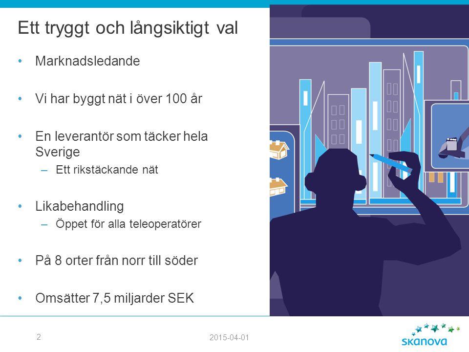 2015-04-01 2 Ett tryggt och långsiktigt val Marknadsledande Vi har byggt nät i över 100 år En leverantör som täcker hela Sverige –Ett rikstäckande nät Likabehandling –Öppet för alla teleoperatörer På 8 orter från norr till söder Omsätter 7,5 miljarder SEK