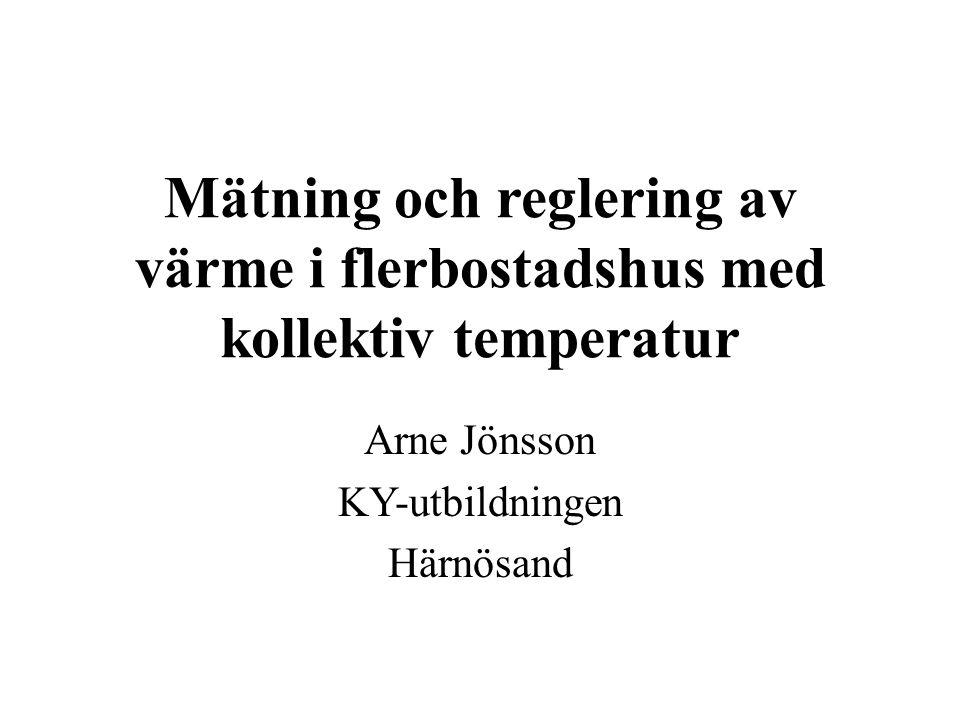 Mätning och reglering av värme i flerbostadshus med kollektiv temperatur Arne Jönsson KY-utbildningen Härnösand