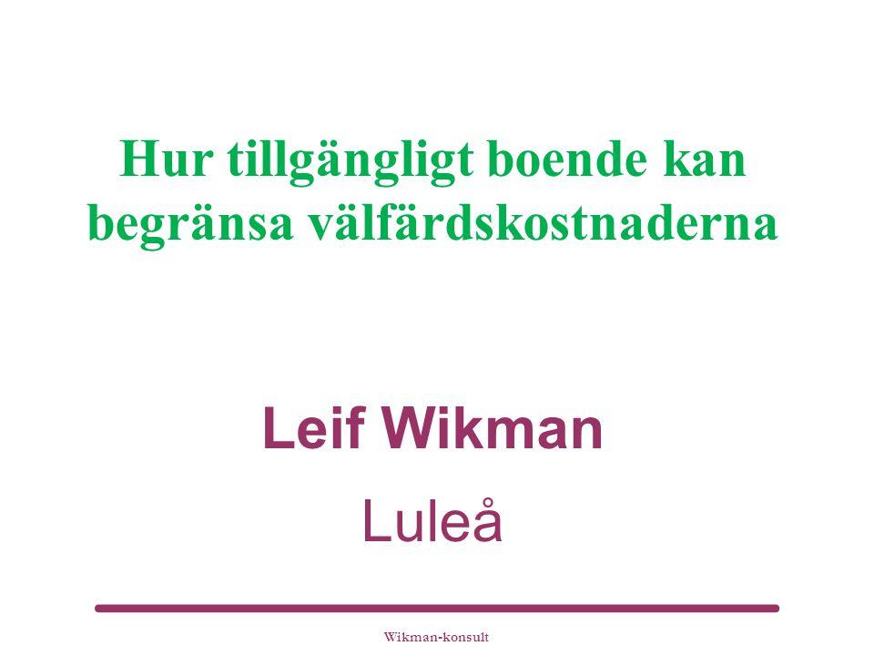 Hur tillgängligt boende kan begränsa välfärdskostnaderna Leif Wikman Luleå
