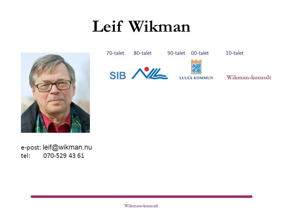 Leif Wikman 70-talet 80-talet 90-talet 00-talet 10-talet SIB Wikman-konsult e-post: leif@wikman.nu tel: 070-529 43 61