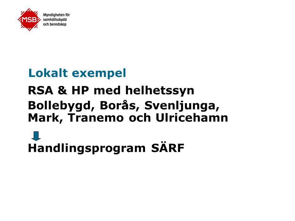 Lokalt exempel RSA & HP med helhetssyn Bollebygd, Borås, Svenljunga, Mark, Tranemo och Ulricehamn Handlingsprogram SÄRF