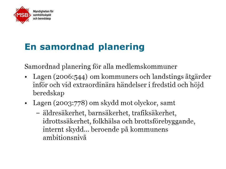 En samordnad planering Samordnad planering för alla medlemskommuner Lagen (2006:544) om kommuners och landstings åtgärder inför och vid extraordinära