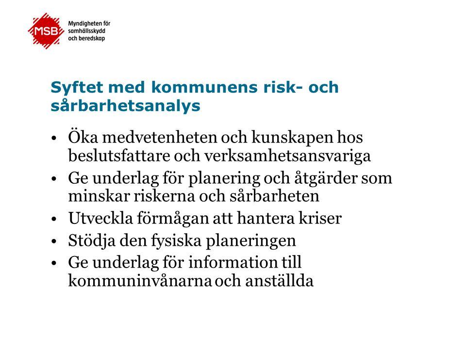 Syftet med kommunens risk- och sårbarhetsanalys Öka medvetenheten och kunskapen hos beslutsfattare och verksamhetsansvariga Ge underlag för planering
